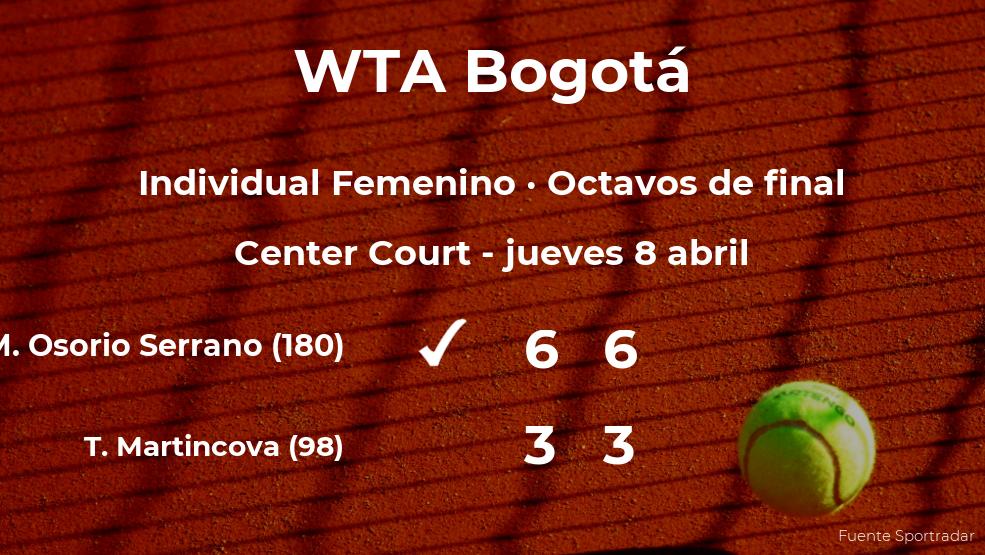 Maria Camila Osorio Serrano se clasifica para los cuartos de final del torneo WTA 250 de Bogotá