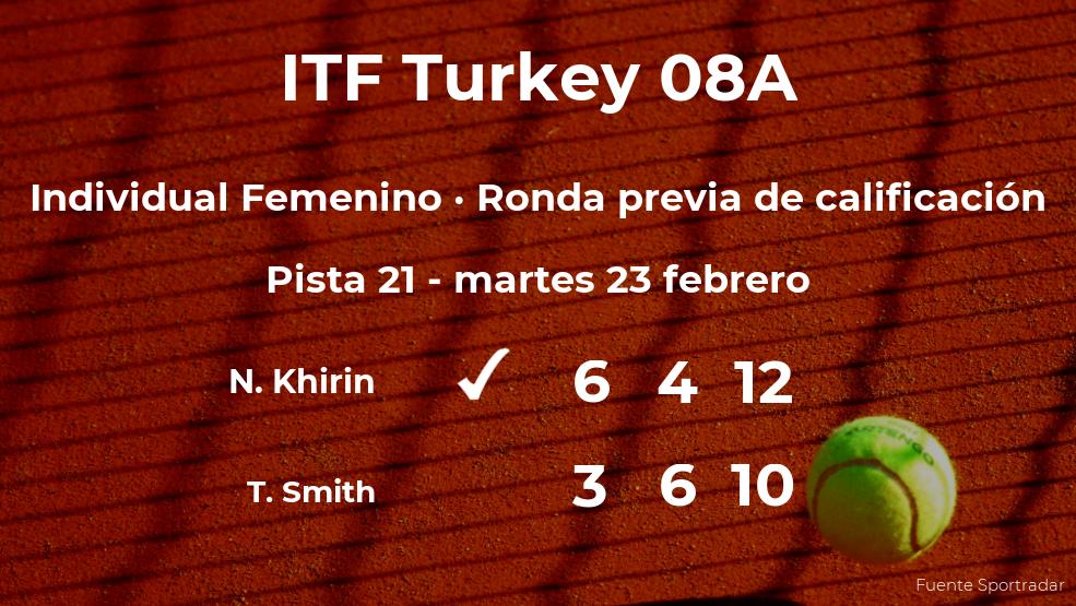 La tenista Nicole Khirin pasa a la siguiente fase del torneo de Antalya