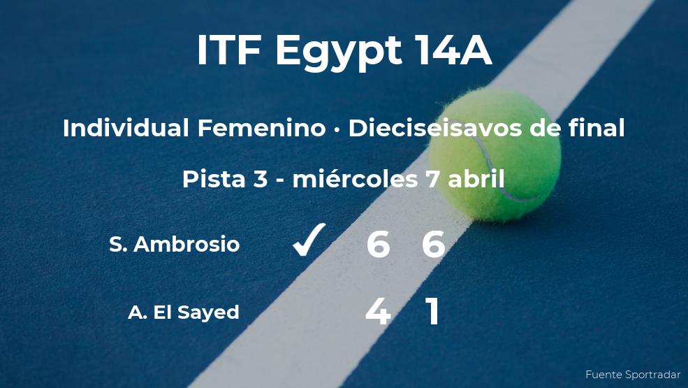 La tenista Silvia Ambrosio, clasificada para los octavos de final del torneo de Sharm El Sheikh