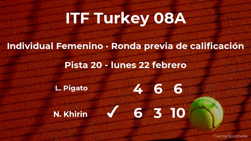 Victoria de la tenista Nicole Khirin en la ronda previa de calificación