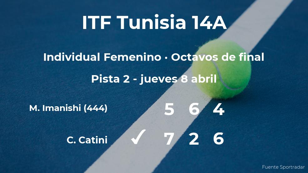 La tenista Chiara Catini logra la plaza de los cuartos de final a expensas de Miharu Imanishi
