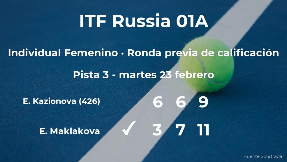 La tenista Ekaterina Maklakova ganó a Ekaterina Kazionova en la ronda previa de calificación del torneo de Moscú