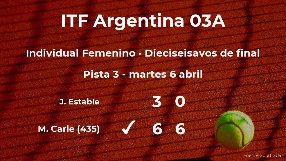 Maria Lourdes Carle gana en los dieciseisavos de final del torneo de Córdoba