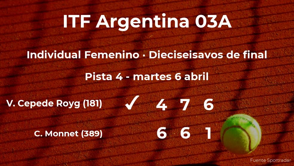 La tenista Veronica Cepede Royg logra clasificarse para los octavos de final a costa de Carole Monnet