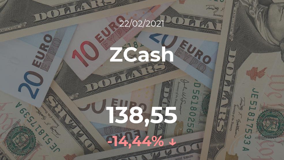 Cotización del ZCash del 22 de febrero