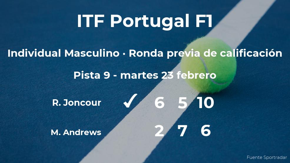 El tenista Ronan Joncour consigue la plaza para la siguiente fase tras ganar en la ronda previa de calificación