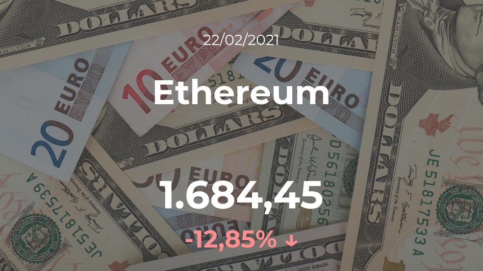 Cotización del Ethereum del 22 de febrero