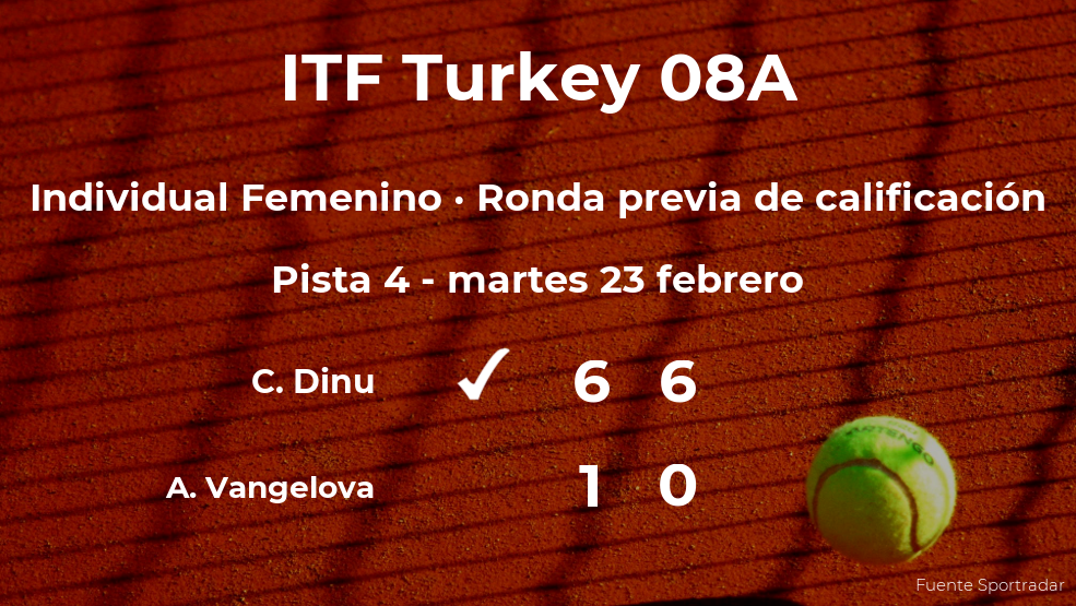 La tenista Cristina Dinu logra vencer en la ronda previa de calificación contra Ani Vangelova