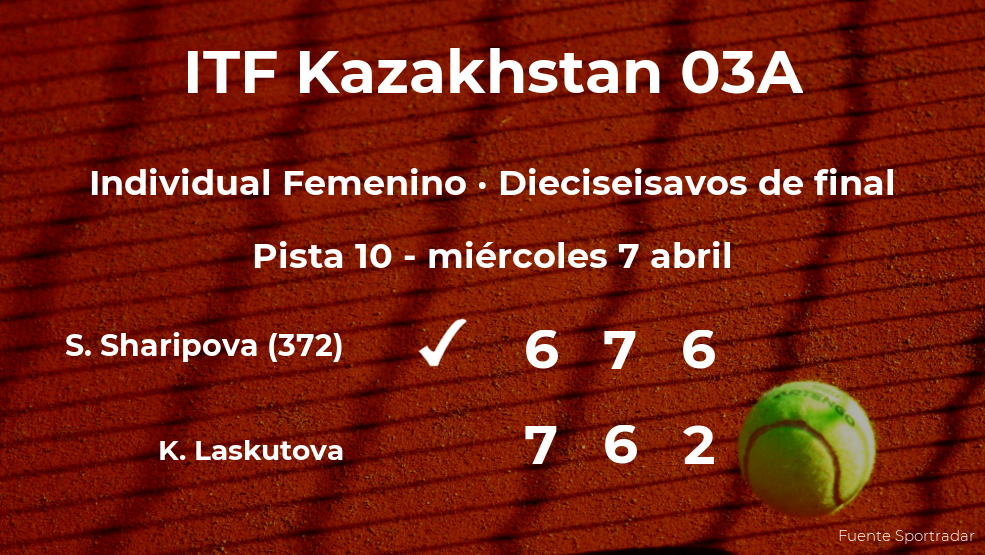 Sabina Sharipova pasa a la próxima ronda del torneo de Shymkent tras vencer en los dieciseisavos de final