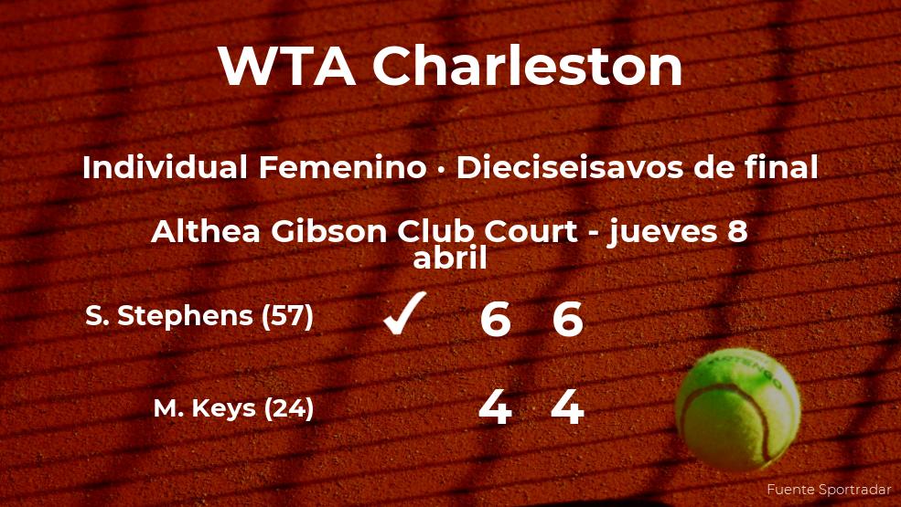 La tenista Sloane Stephens consigue clasificarse para los octavos de final del torneo WTA 500 de Charleston