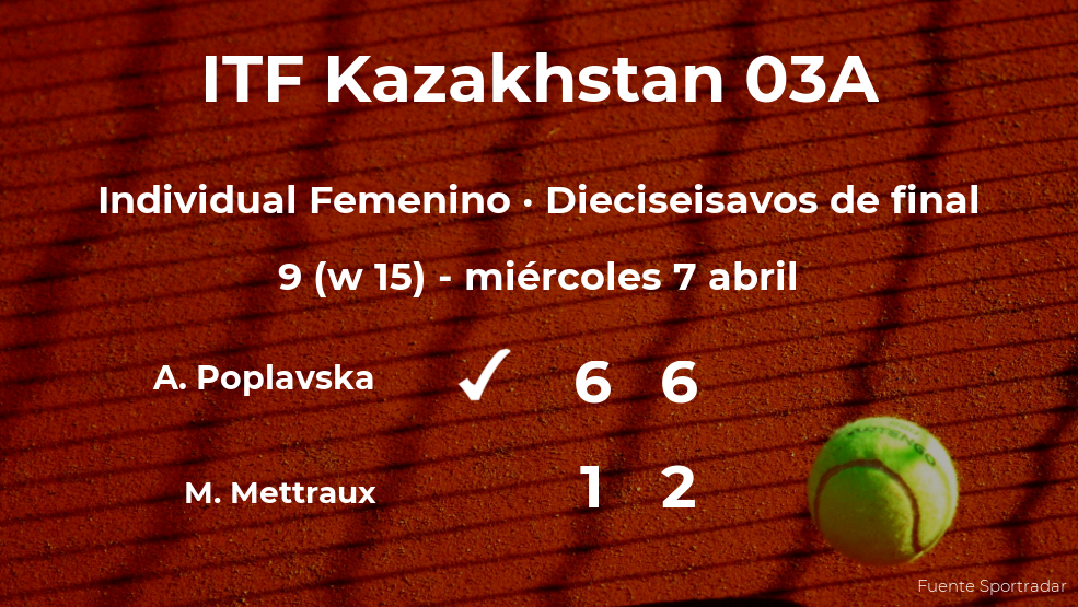 Anastasiya Poplavska estará en los octavos de final del torneo de Shymkent
