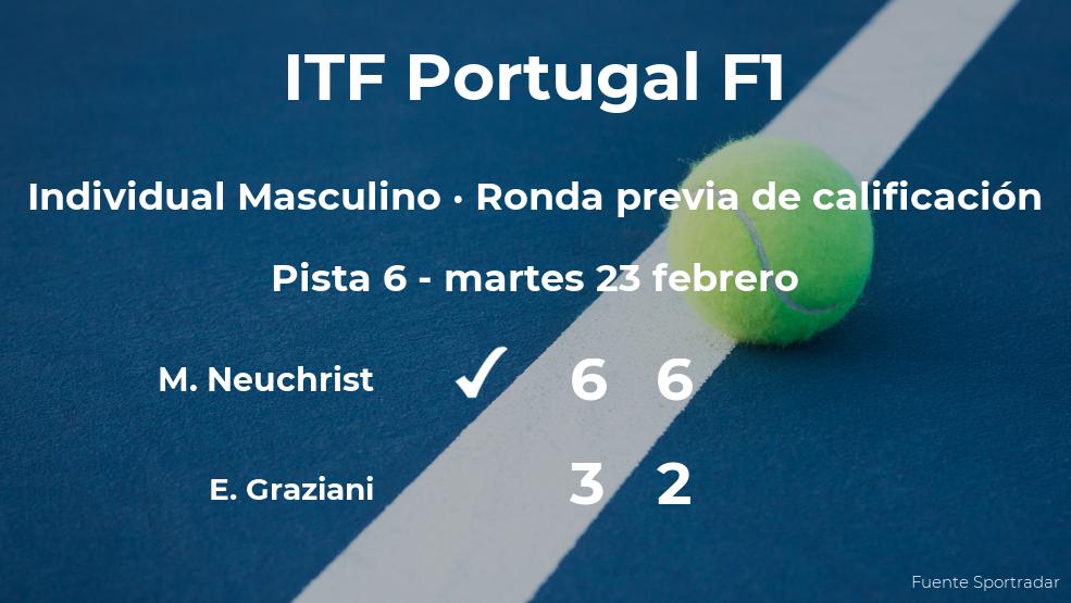 Maximilian Neuchrist gana a Edoardo Graziani en la ronda previa de calificación