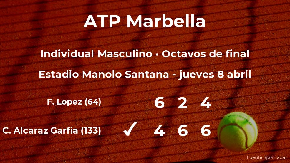 El tenista Carlos Alcaraz Garfia consigue clasificarse para los cuartos de final del torneo ATP 250 de Marbella