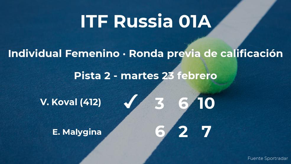 Vlada Koval ganó a la tenista Elena Malygina en la ronda previa de calificación del torneo de Moscú