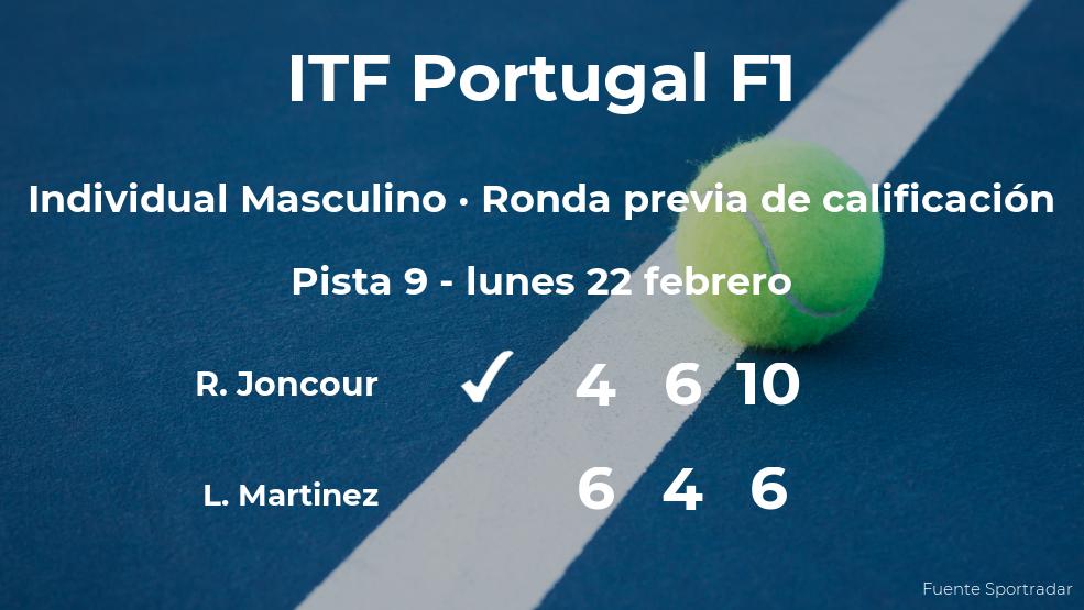 Triunfo para el tenista Ronan Joncour en la ronda previa de calificación