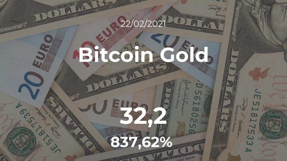 Cotización del Bitcoin Gold del 22 de febrero