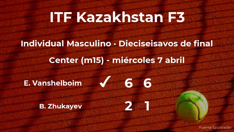 El tenista Eric Vanshelboim consigue clasificarse para los octavos de final a costa del tenista Beibit Zhukayev