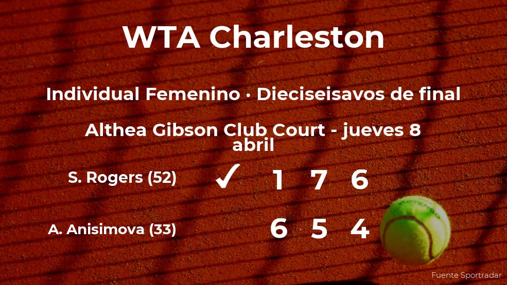 La tenista Shelby Rogers logra la plaza de los octavos de final a costa de la tenista Amanda Anisimova
