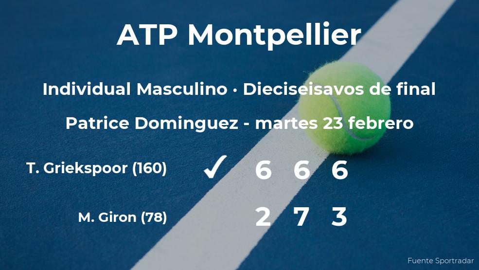 El tenista Tallon Griekspoor pasa a los octavos de final del torneo ATP 250 de Montpellier