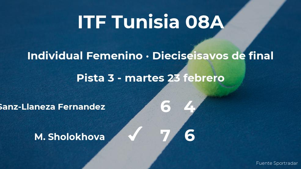 La tenista Almudena Sanz-Llaneza Fernandez se queda a las puertas de los octavos de final del torneo de Monastir