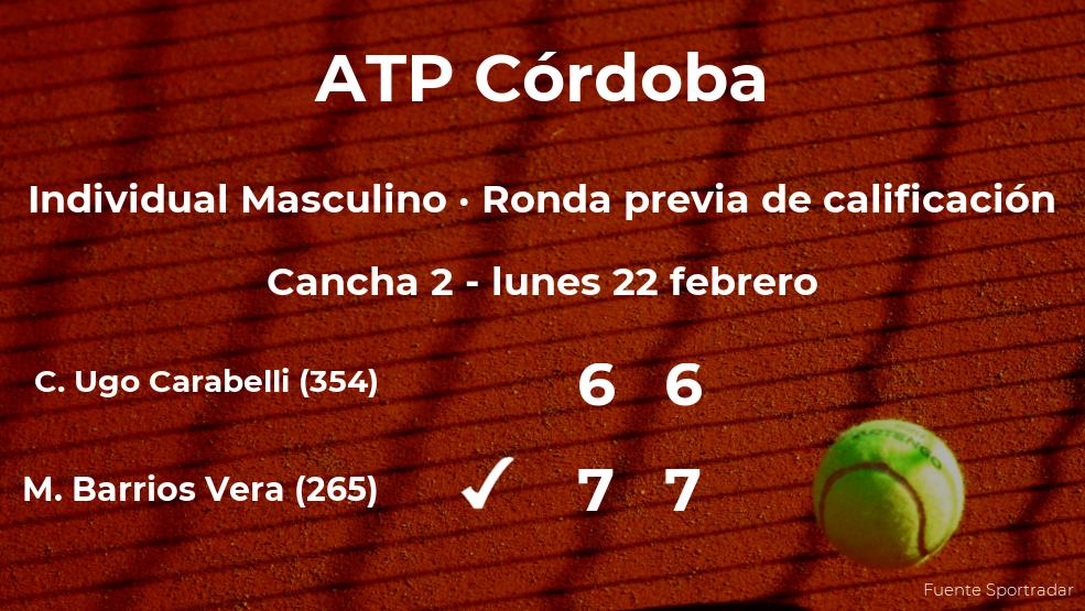 El tenista Marcelo Tomas Barrios Vera pasa de ronda del torneo ATP 250 de Córdoba