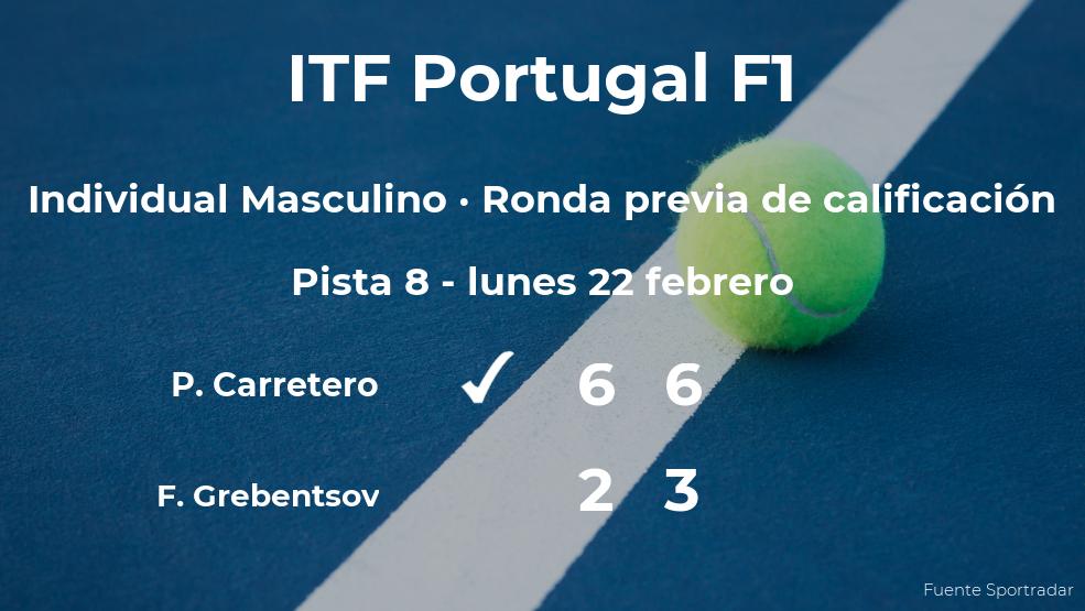 El tenista Pablo Carretero gana al tenista Filipe Grebentsov en la ronda previa de calificación