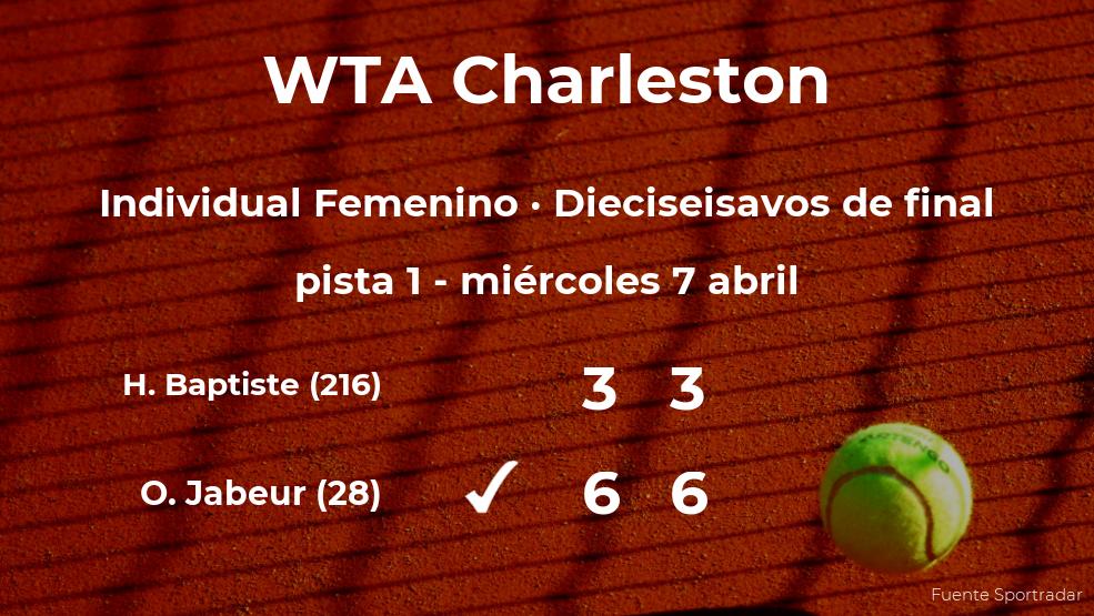 La tenista Ons Jabeur consigue clasificarse para los octavos de final a costa de la tenista Hailey Baptiste