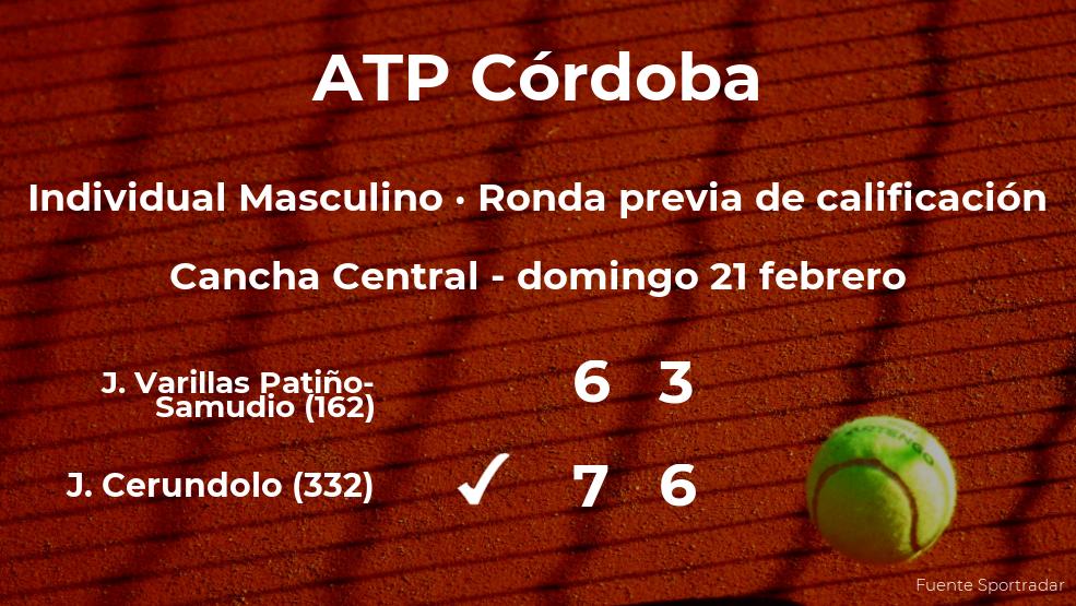 El tenista Juan Manuel Cerundolo ganó al tenista Juan Pablo Varillas Patiño-Samudio en la ronda previa de calificación del torneo ATP 250 de Córdoba