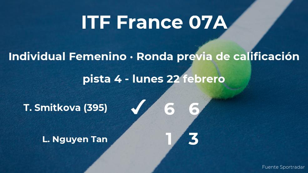 La tenista Tereza Smitkova venció a Lucie Nguyen Tan en la ronda previa de calificación del torneo de Poitiers