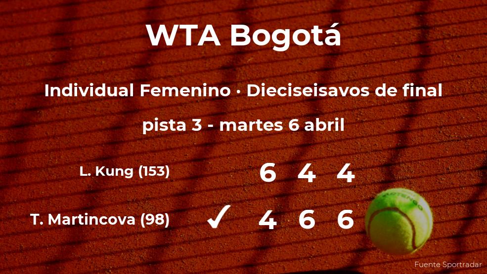 La tenista Tereza Martincova se clasifica para los octavos de final del torneo WTA 250 de Bogotá