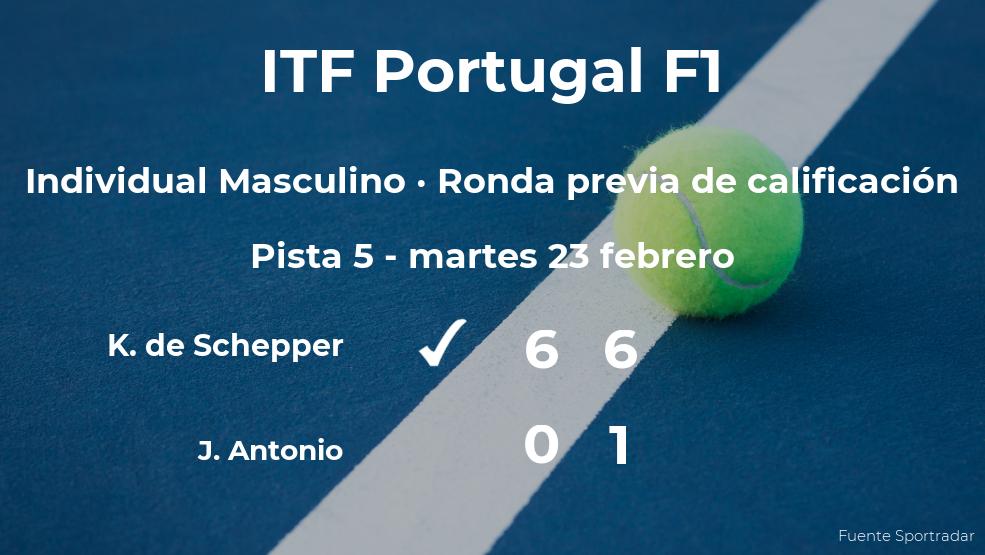 El tenista Kenny de Schepper venció a Joao Antonio en la ronda previa de calificación del torneo de Vale de Lobo