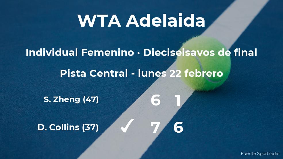 La tenista Danielle Collins pasa a los octavos de final del torneo WTA 500 de Adelaida