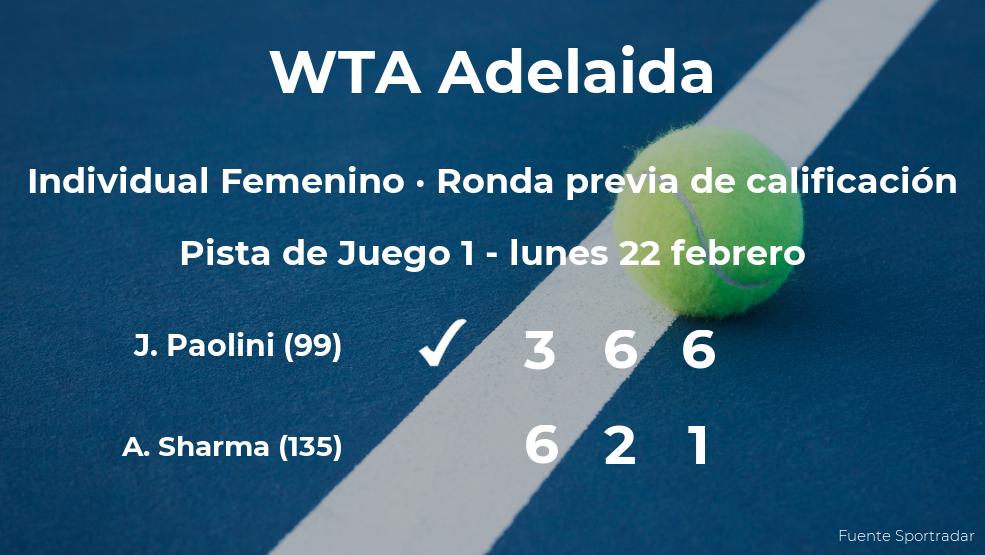 La tenista Jasmine Paolini consigue ganar en la ronda previa de calificación a costa de la tenista Astra Sharma