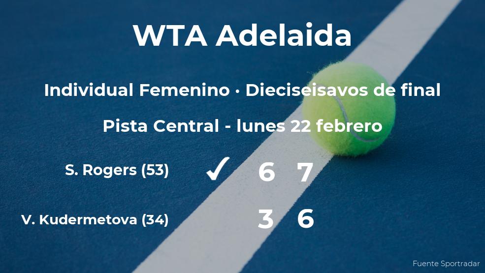Shelby Rogers logra clasificarse para los octavos de final a costa de la tenista Veronika Kudermetova