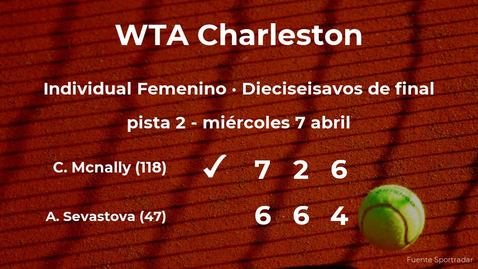 Caty Mcnally rompe los pronósticos al derrotar a Anastasija Sevastova en los dieciseisavos de final del torneo WTA 500 de Charleston