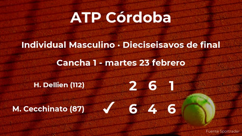 El tenista Marco Cecchinato logra clasificarse para los octavos de final a costa del tenista Hugo Dellien