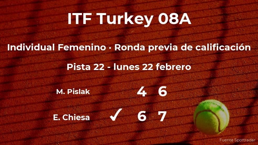 Enola Chiesa vence en la ronda previa de calificación del torneo de Antalya