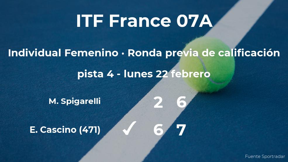 Estelle Cascino consigue ganar en la ronda previa de calificación contra la tenista Martina Spigarelli
