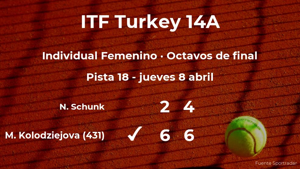 La tenista Miriam Kolodziejova estará en los cuartos de final del torneo de Antalya