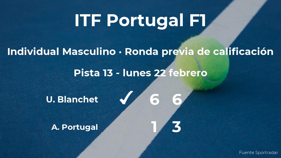 El tenista Ugo Blanchet vence en la ronda previa de calificación del torneo de Vale de Lobo