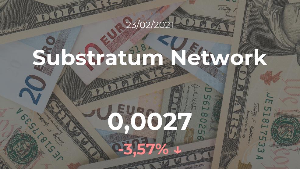 Cotización del Substratum Network del 23 de febrero