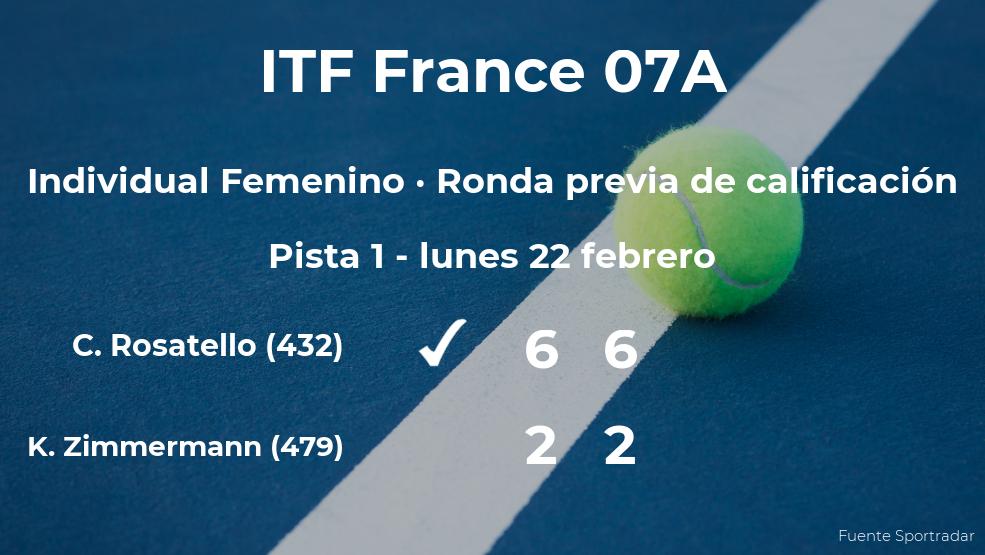 La tenista Camilla Rosatello logra ganar en la ronda previa de calificación a costa de Kimberley Zimmermann
