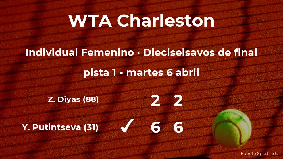 La tenista Yulia Putintseva pasa a los octavos de final del torneo WTA 500 de Charleston