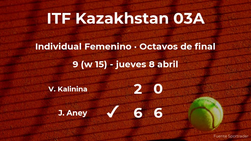 La tenista Jessie Aney logra clasificarse para los cuartos de final a costa de la tenista Viktoriia Kalinina