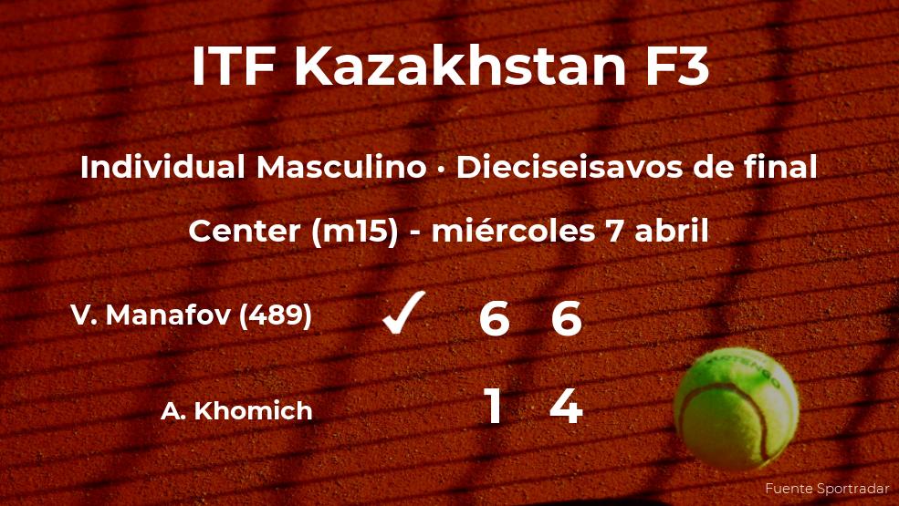 Vladyslav Manafov consigue clasificarse para los octavos de final del torneo de Shymkent