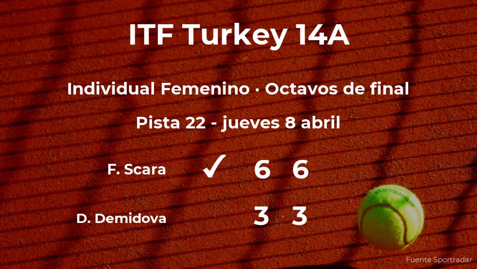 La tenista Flaminia Scara da la sorpresa en los octavos de final del torneo de Antalya al ganar a Diana Demidova