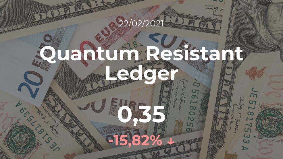 Cotización del Quantum Resistant Ledger del 22 de febrero