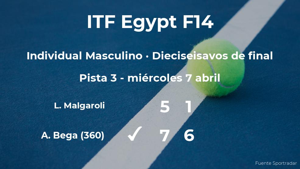 El tenista Alessandro Bega logra clasificarse para los octavos de final a costa del tenista Leonardo Malgaroli