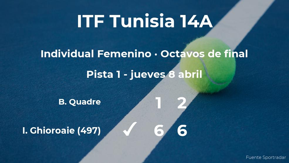 La tenista Ilona Georgiana Ghioroaie se clasifica para los cuartos de final del torneo de Monastir