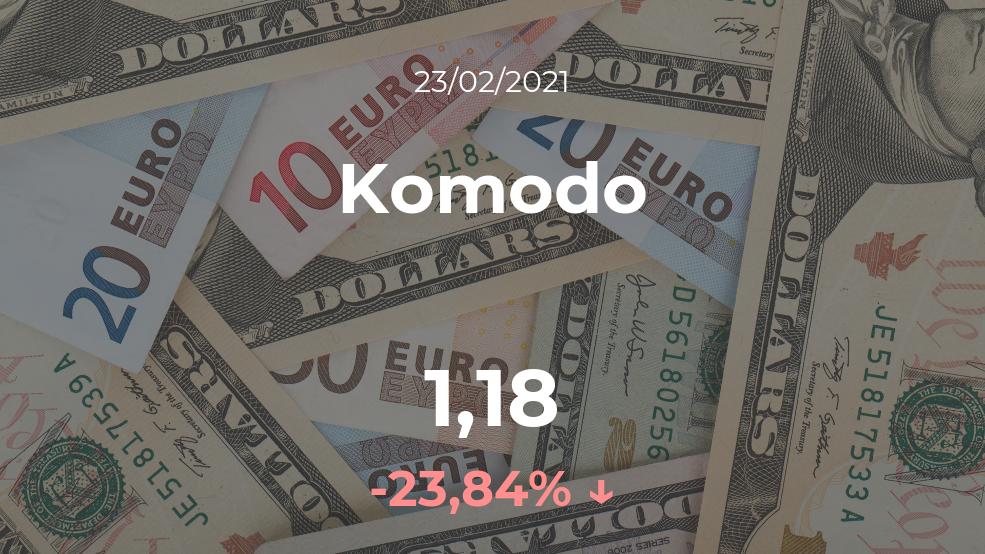 Cotización del Komodo del 23 de febrero